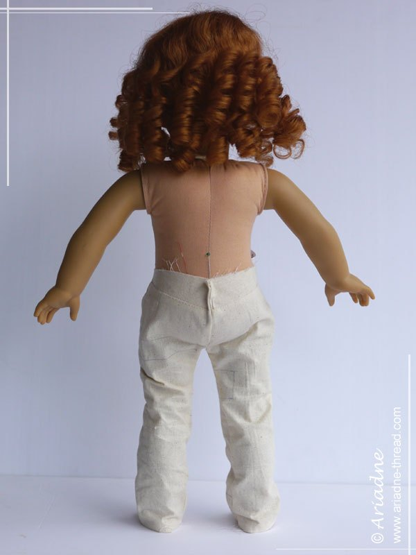 First jeans prototype for American Girl doll, back view