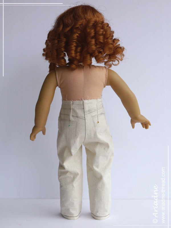 Second jeans prototype for American Girl doll, back view
