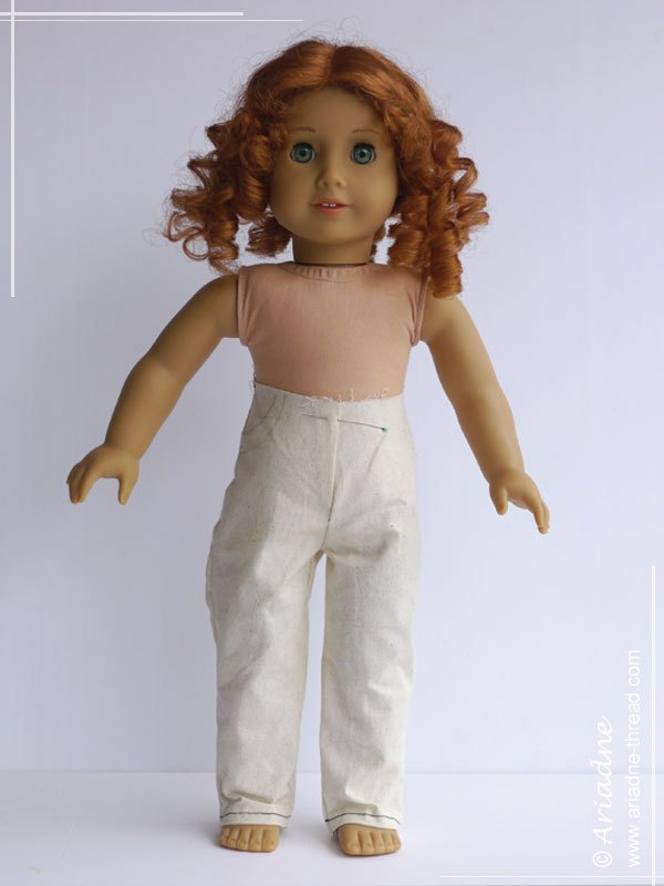 Second jeans prototype for American Girl doll, front view