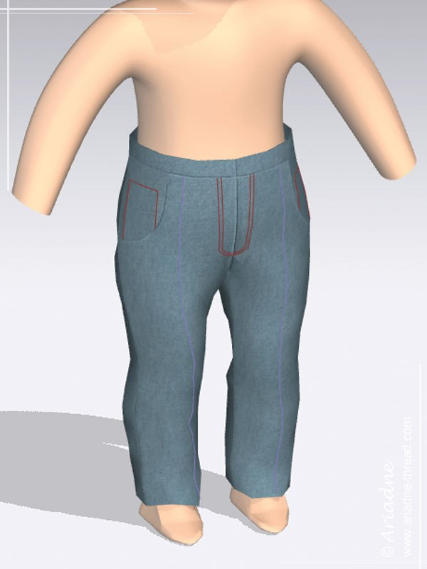 Jeans for American Girl doll, virtual fitting
