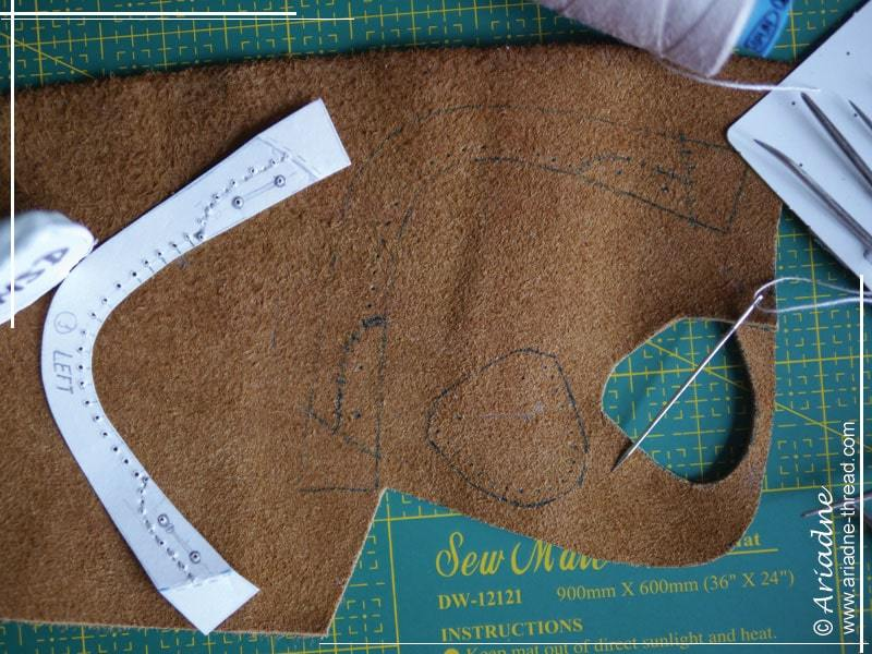 How to make doll shoes: mark all stitches, eyelets, etc