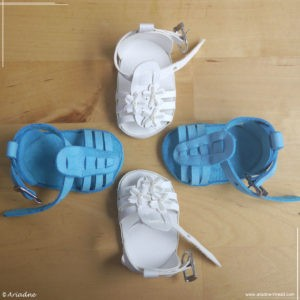 Handmade gladiator shoes for American Girl dolls