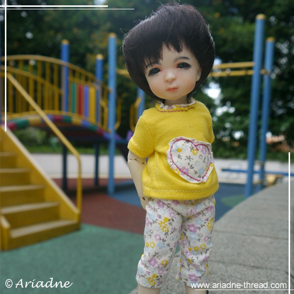"Harucasting Nanni at playground in leggins and t-shirt with ""heart"" applique"